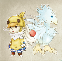 Chocobo + Knight by blue-blood13