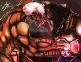 Armored Titan vs Ape Vegeta by gaaradesertdreams