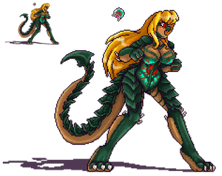 Metroid Queen Samus Sprite by AkuOreo