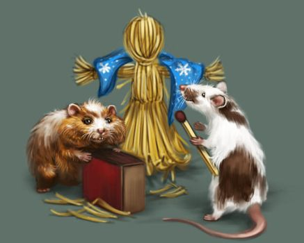 Hamster, Mouse and the effigy of winter by morawless