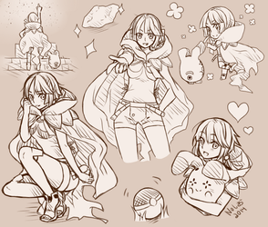 Zinnia Sketch Page by Mallier