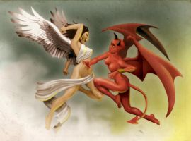 Angel woman vs Devil Woman by heckthor