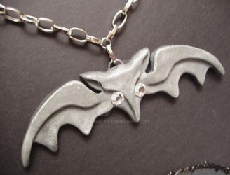 Lily Munster bat necklace by YWIMC