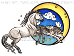 Moon Warriors - Horse And Wolf Copic by WildSpiritWolf