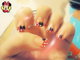 Minnie Mouse Nail Art by didoo0501