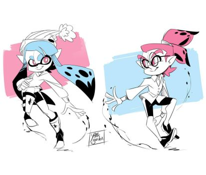 Splatoon - Inky and Inked - Doodles- 02 by YAMsgarden