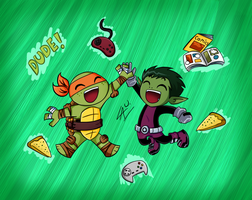 My two favourite green guys xD by kuki4982