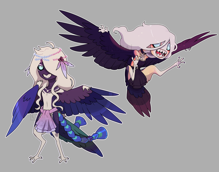 (P) Harpy Sibling chibis by Caikitty