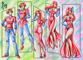 handsome boy to beautiful Jessica Rabbit by kyo-dom