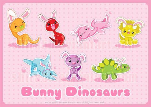 Commission - Bunny Dinosaurs by Cukismo