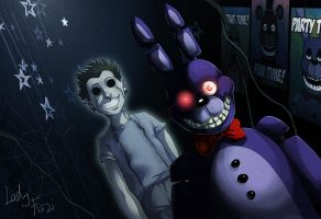 Fnaf - Bonnie and his ghost by LadyFiszi