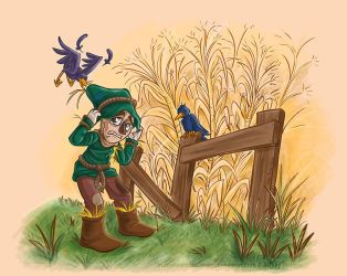 Scarecrow vs the crows by Orangeandbluecream