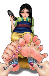 Mulan's Feet get Tickled with Toothbrushes by FeatherEdits