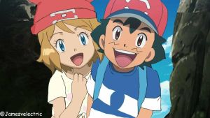 Ash and Serena in Sun and Moon anime.  by Jamesvelectric