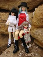 Holiday outfits for my single BJD girls by skelly-jelly