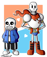 Sans and Papyrus by FairyArtists
