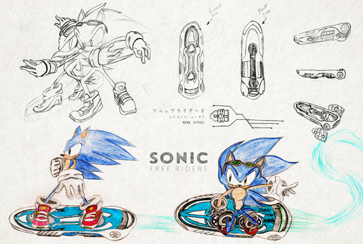 Sonic Free Riders Sketches by ProjectHyperBlue