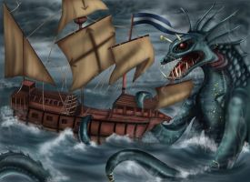 Seamonster Attack by arania