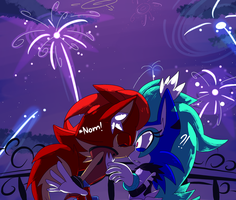 Them minty red velvet Week Day 3:New year Kiss? by ArtsySiege