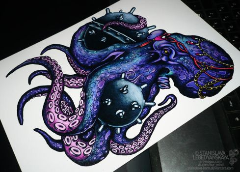 Octopus with sea mines by Stanislava-Korn