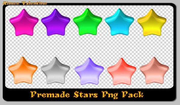Premade Pack Of Png Stars by Lady-Valentine-Art83