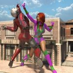 Colossal Woman topples the Giant Man by ScottyFreefall