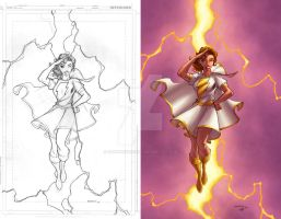 Mary Marvel with lineart by GarryHenderson