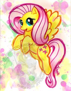 Fluttershy Watercolor -G4 by BarbedDragon