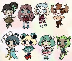 (OPEN) chibi adopts batch 250 points by RottenRiceball
