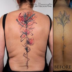 Freehand watercolor abstract Cover Up tattoo by Mentjuh