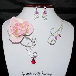 Rose torc necklace and earrings by Lyriel-MoonShadow