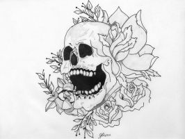 Skull and Flowers Tattoo Image by ElTattooArtist