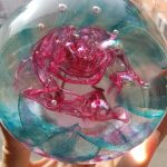 Floating Rose glass paperweight by fairyfrog