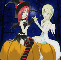 Kairi and Namine in Halloween by rin-chan026