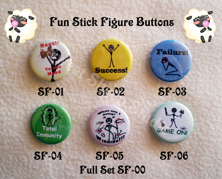 Fun Stick Figure Buttons by sweetsheepstudio