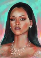 Rihanna Portrait by LaurenceAndrewPage