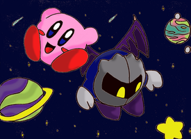 Kirby and Meta Knight by brezrats
