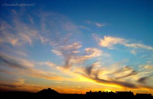 Blue and Golden Blazing Skies by Cloudwhisperer67
