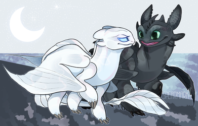 Lightfury and Toothless by Spearmark