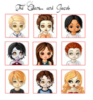 The Cullens... and Jacob chibi by s0ldi3rgur1