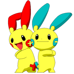Plusle and Minun by iridion