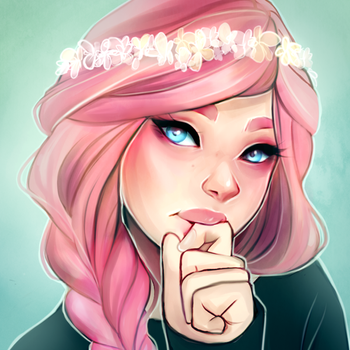 Pink and Flowers by Cyarin