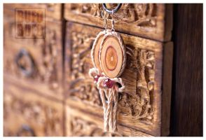 Lilac wood slice earrings with crystals :) by psihoze