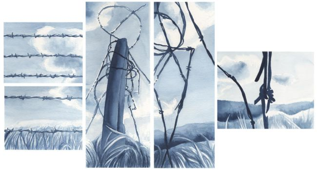 Barbed wire polyptych by Melaninny
