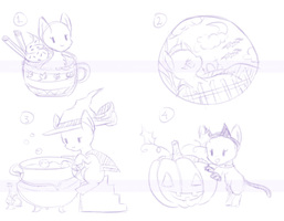YCH Halloween Batch {1/4 Open} by halcyondrop