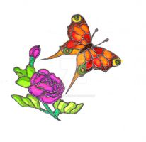 Butterfly Silk Painiting by Harrisons-Forge