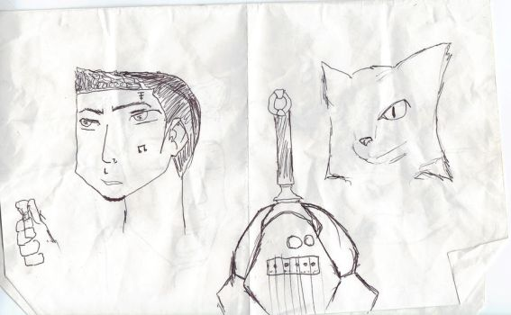 a boy a one eyed  cat and a guitar by MikedaPrez