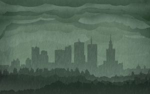 Warsaw Rainy Skyline Wallpaper by IxoliteFH