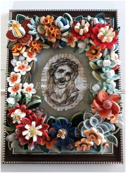 Quilled portrait of Jesus with tropical flowers  by ElianeTanassi