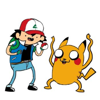 Pikachu and Ash the human by Shorykins